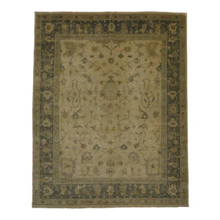 Contemporary Oushak Rug with Transitional Style