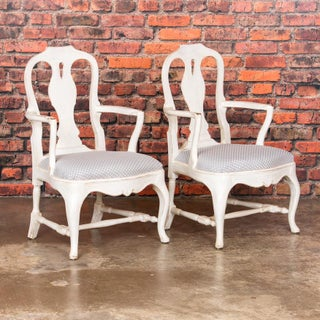 Late 19th Century Antique White Country Rococo Armchairs- A Pair Preview