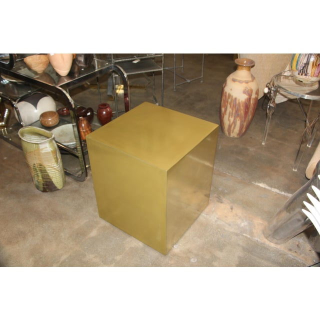 Bridges Over Time Originals Brass Coated Cube Table For Sale - Image 9 of 10