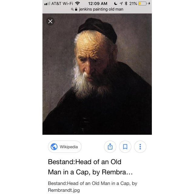 """Green Vintage Rennaisance Baroque Replica Rembrandt """"Head of an Old Man in a Cap"""" Oil Painting For Sale - Image 8 of 8"""