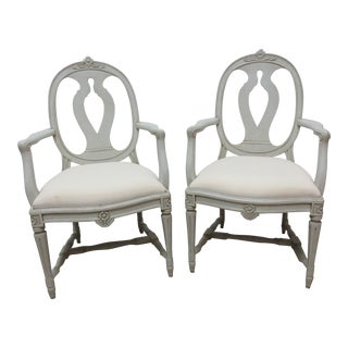 Swedish Gustavian Classic Arm Chairs - a Pair For Sale