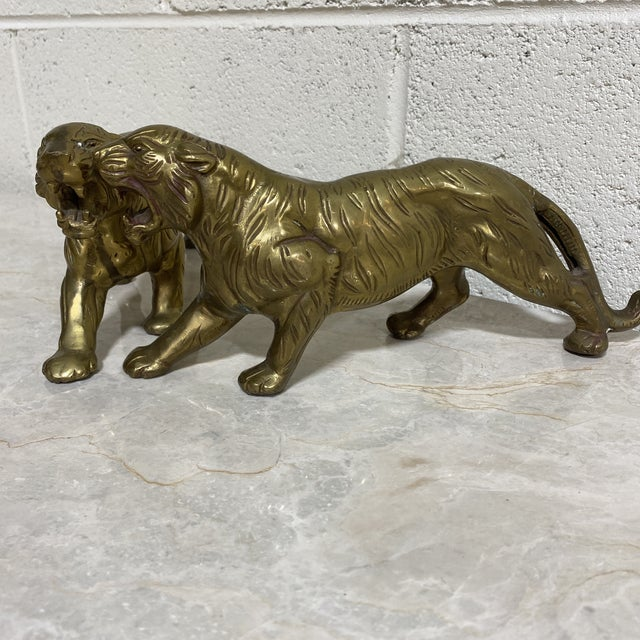 Boho Chic Vintage Brass Tigers - a Pair For Sale - Image 3 of 12
