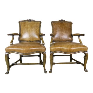Early 20th Century English Embossed Crocodile Patterned Leather Armchairs- a Pair For Sale