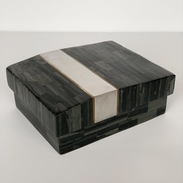 Mid-Century Modern Karl Springer Tessellated Stone, Chrome and Brass Box For Sale - Image 3 of 13