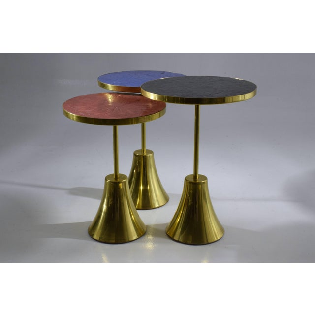 Jonathan Amar Studio Z-II-III Contemporary Blue Mosaic Side Table, Flow Collection For Sale - Image 4 of 9
