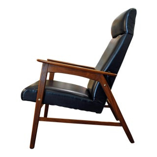 Mid Century Danish Modern Teak High Back Lounge Chair