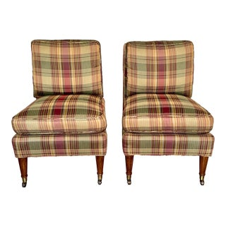 Calico Corners Custom Upholstered Plaid Slipper Chairs - a Pair For Sale