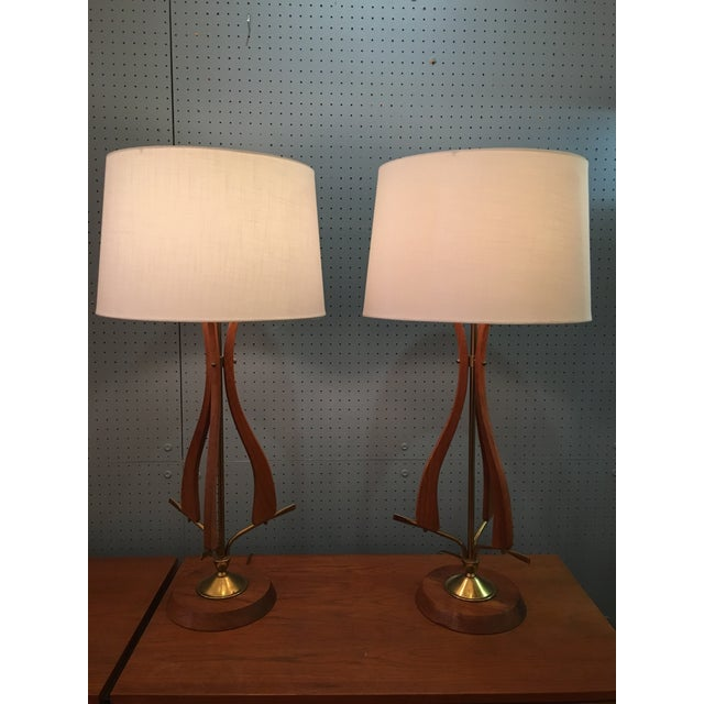 1960s Scandinavian Modern Walnut Table Lamps - a Pair For Sale - Image 9 of 10