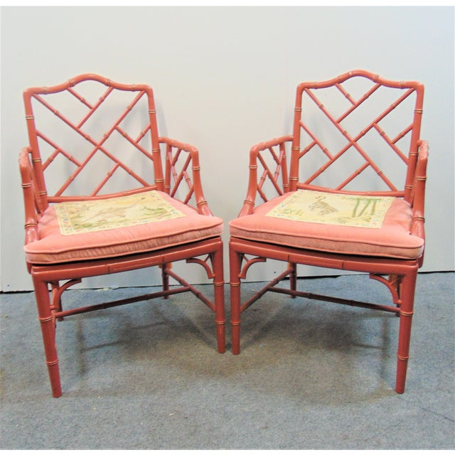 Mid 20th Century Regency Faux Bamboo Rose Arm Chairs - a Pair For Sale - Image 9 of 9