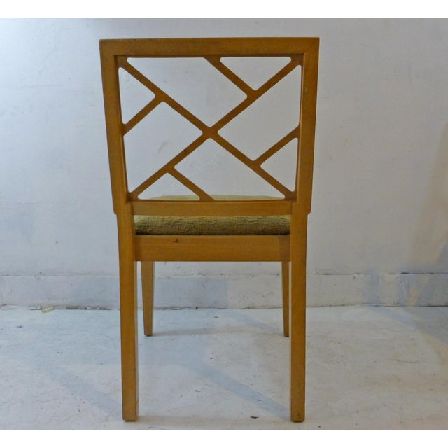 Asian 1940s Landstrom Mid-Century Modern Lattice Back Dining Chairs - Set of 8 For Sale - Image 3 of 8