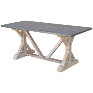 Zinc Top Farm Table in Vintage Heart-Pine by Petersen Antiques For Sale