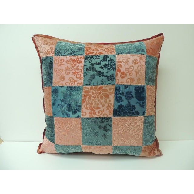 Pink and Blue Romance Through the Gilded Age's Asian Textiles Patchwork Pillow For Sale In Miami - Image 6 of 6