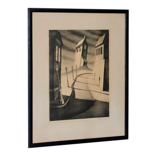 """1930s Black & White Landscape Lithograph """"Silent Street"""" by Alfred Gray For Sale"""