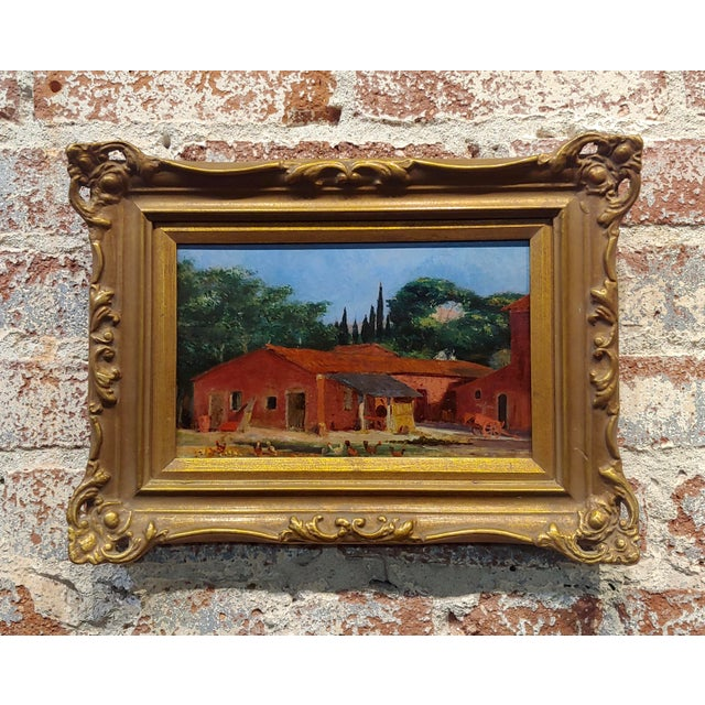 "Attributed to Morris Graves ""Farmhouse With Chickens"" Oil Painting For Sale - Image 10 of 10"