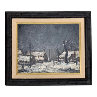 Winter Night Scene Oil Painting Signed Maurice Mazelle For Sale