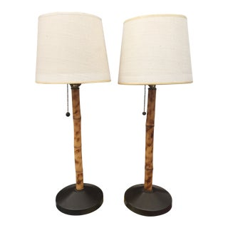 1960s Vintage Bamboo Lamps with Shades - a Pair For Sale