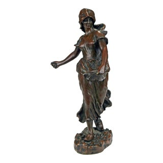 19th C. Bronze Statue of Woman Sowing Seeds by Hans Schork For Sale