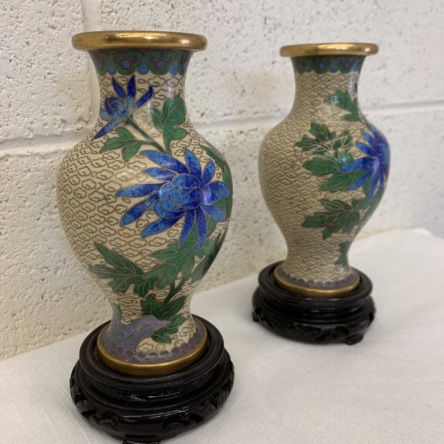 Asian Vintage Chinese Cloisonné Vases -A Pair For Sale - Image 3 of 13