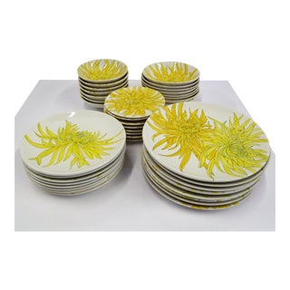 Mid Century Modern Ernestine Ceramics Dinnerware SeT, Chrysantemum Pattern Salerno, Italy - Set of 39 For Sale