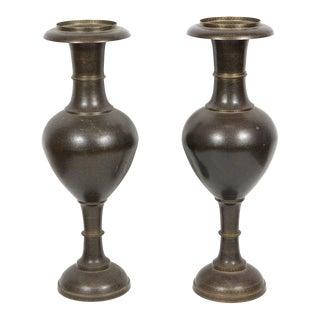 Pair of Kashmiri Indo-Persian Lacquered Copper Vases