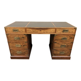 Mid-Century Asian Style Leather Top Executive Desk
