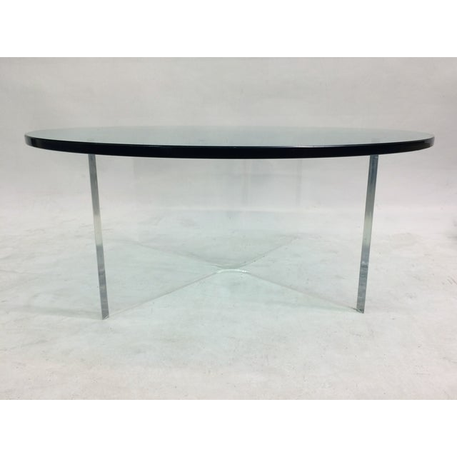 Glass Coffee Table on Bent Lucite Base - Image 4 of 6