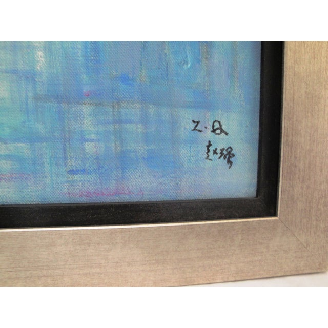 Impressionism Water Night Signed Framed Oil on Canvas For Sale - Image 3 of 4