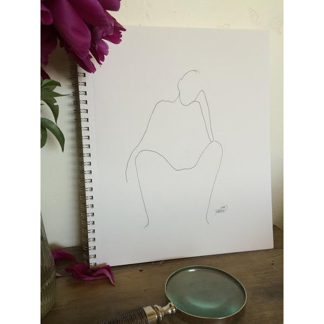 """Thinking"" Original Ink Drawing - Image 2 of 3"