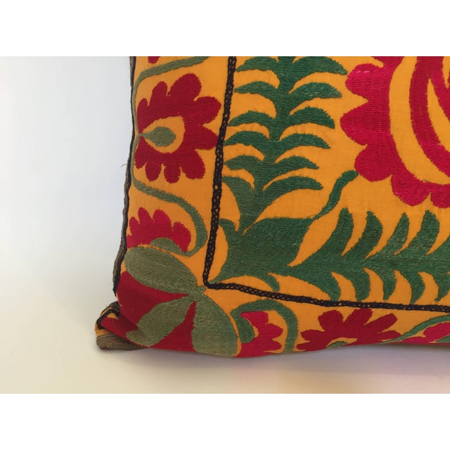 Textile Large Vintage Colorful Suzani Embroidery Throw Pillow For Sale - Image 7 of 13