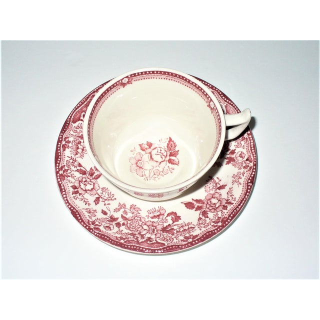 Alfred Meakin Tonquin Pattern Red Cups and Saucers by Stafforshire England - Set of 6 For Sale In Little Rock - Image 6 of 10