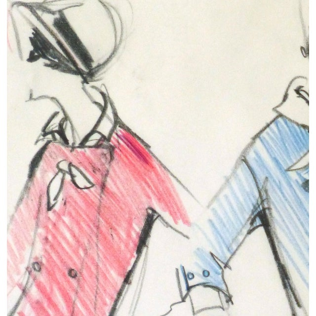 Original Balmain Dress Suit Fashion Sketch 1960 - Image 2 of 4