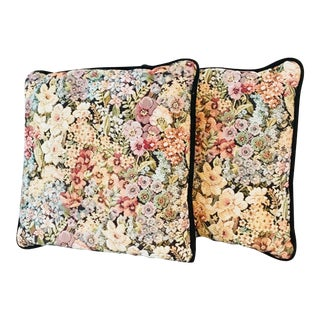 Vintage 1990's Garden Floral Blossom Pillows - A Pair For Sale