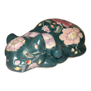 Late 19th Century Japanese Kutani Porcelain Sleeping Cat Figurine For Sale