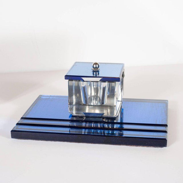 Three-Piece Art Deco Machine Age Cobalt Mirror and Chrome Desk Set by Victor For Sale In New York - Image 6 of 12