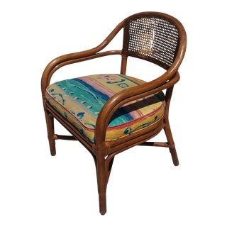 Mid-Century Bamboo Teak Rattan Barrel Back Chair For Sale