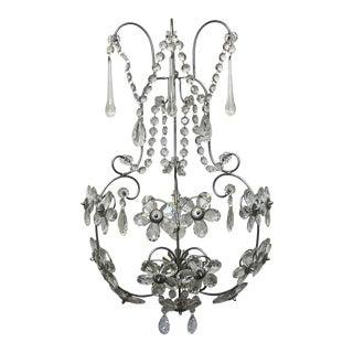 Large Silver Leaf & Floral Crystal Sconce For Sale
