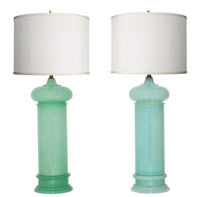 Monumental Blown Art Glass Lamps - a Pair For Sale - Image 11 of 12