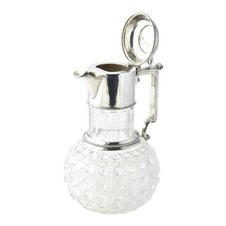 Antiques Victorian Sterling Silver & Cut Crystal Claret Jug Pitcher For Sale