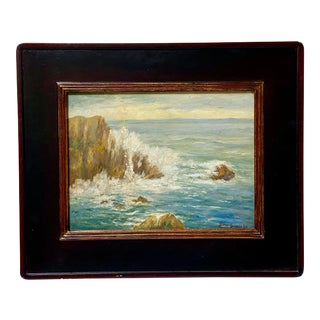 Early 20th Century Monterey Bay Seascape Oil Painting Bertha Stringer Lee For Sale