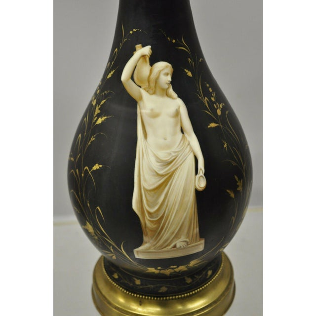 Early 20th Century Antique French Neoclassical Black Porcelain Classical Bulbous Table Lamps - Pair For Sale - Image 5 of 13