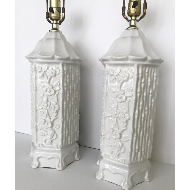 Vintage Chinoiserie Ceramic Pagoda Lamps - A Pair For Sale - Image 4 of 10