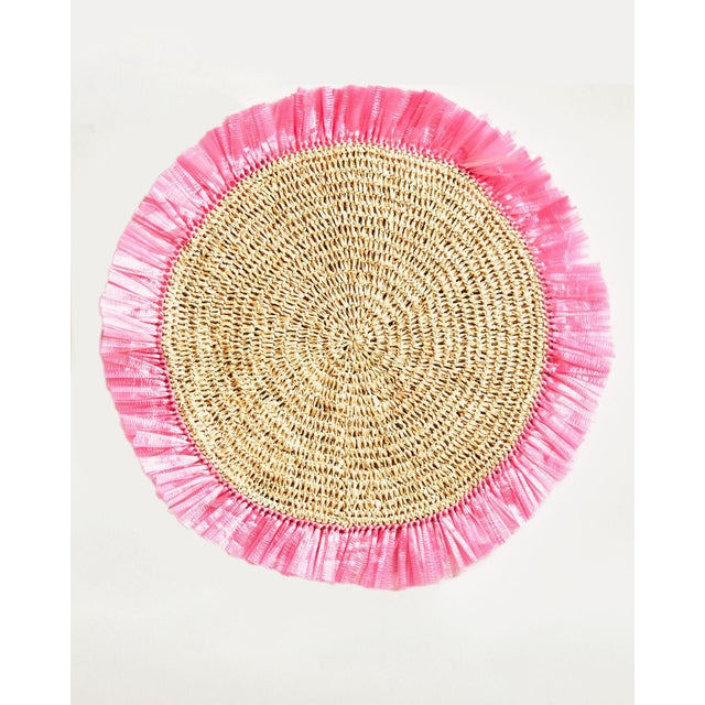 Boho Chic White Woven Rattan Placemat For Sale - Image 3 of 3