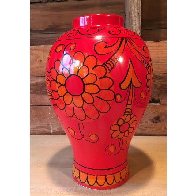Stunning vintage Bellini for Raymor mid-century modern Italian art pottery oversized vase! Could be used as a floor vase...