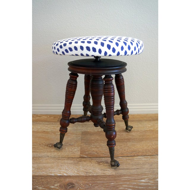 Vintage Turned Wood Piano Stool - Image 3 of 7