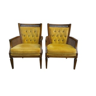 Louis XVI Style Armchairs in Chartreuse - a Pair