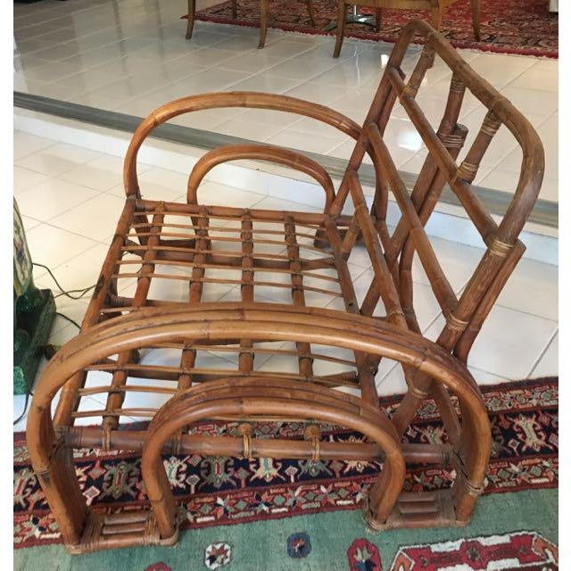 Rattan Vintage Mid Century Rattan Set Chairs & Loveseat For Sale - Image 7 of 13