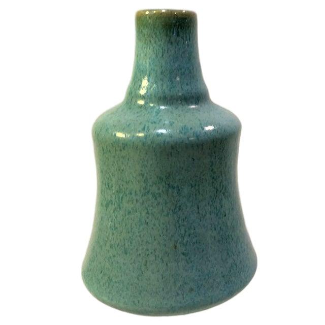 Mid-Century Modern Mat Crystalline Studio Pottery Bud Vase Cyan Signed For Sale - Image 3 of 5