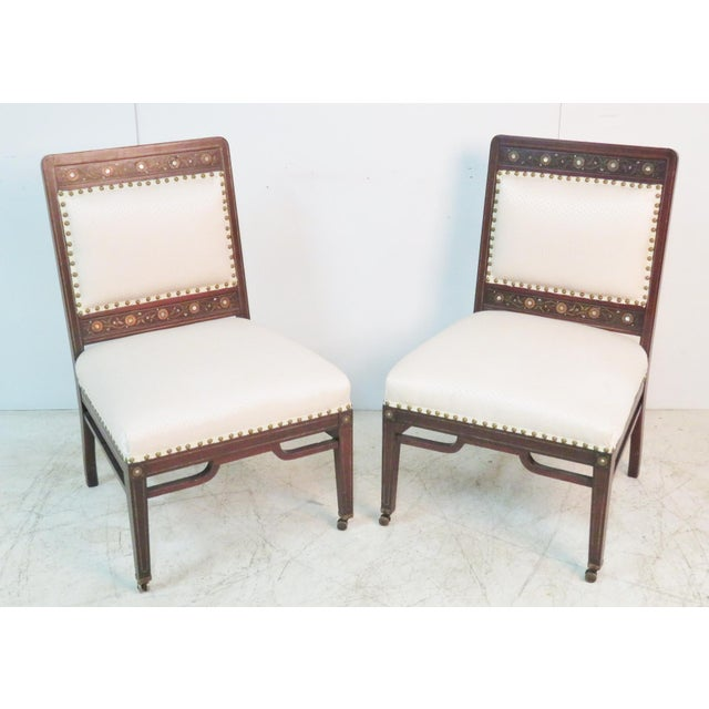 Textile Moorish Herter Brothers Style Inlaid Slipper Chairs - a Pair For Sale - Image 7 of 7