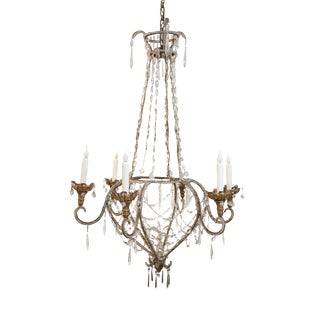 Early 19th Century Italian Beaded and Gilt Iron Chandelier