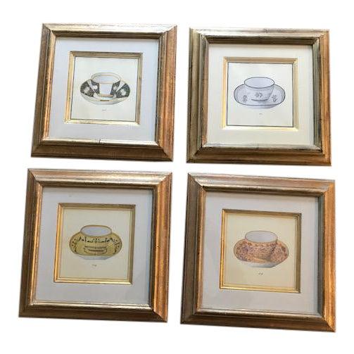 Trowbridge Gallery Numbered Teacup Square Prints in Gilt Frames - Set of 4 For Sale